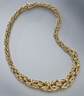 Italian 14K Yellow Gold Rope Necklace.