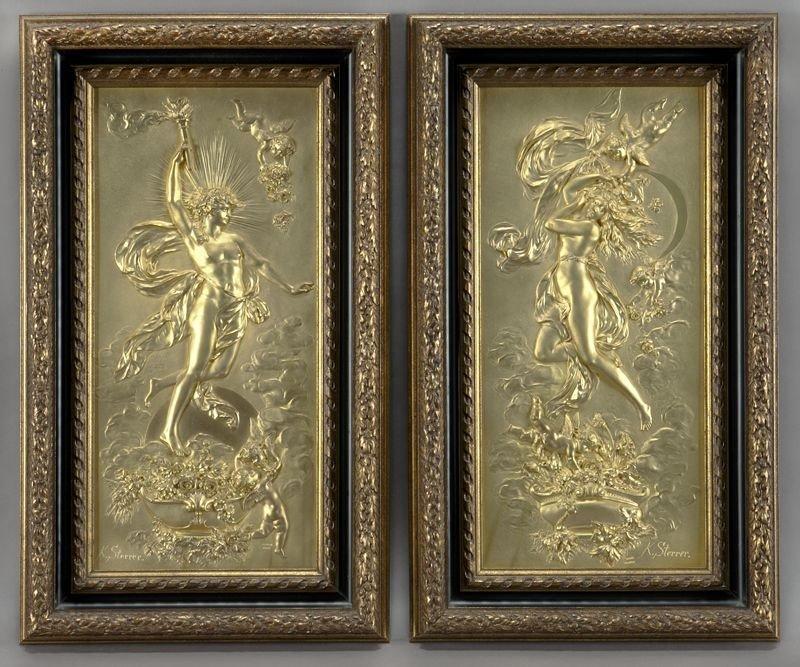 33: Pr. K. Sterrer Austrian gilt-metal relief plaques