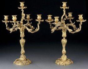 Pr. Louis XV Style Dore Bronze Candelabra