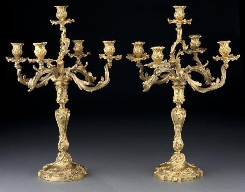 34: Pr. Louis XV style dore bronze candelabra
