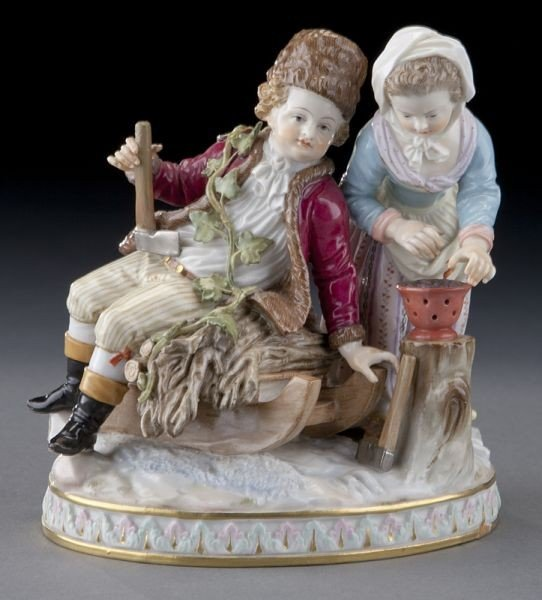 """39: Meissen figural group emblematic of """"Winter"""","""