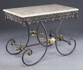 French Cast Iron And Marble Top Pastry Table