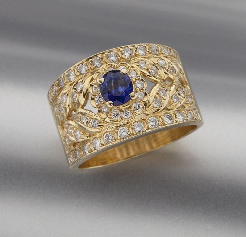 42: 18K gold, Ceylon sapphire and diamond ring