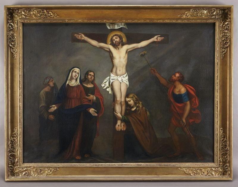 44: European school oil painting on canvas depicting