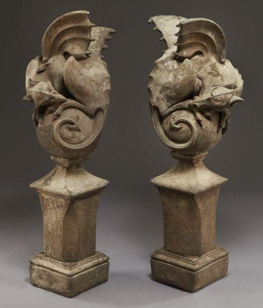 46: Pr. carved sandstone gargoyles on pedestals.