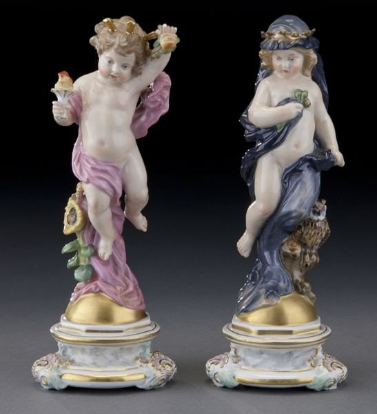 47: Pr. Meissen figures emblematic of Day and Night,