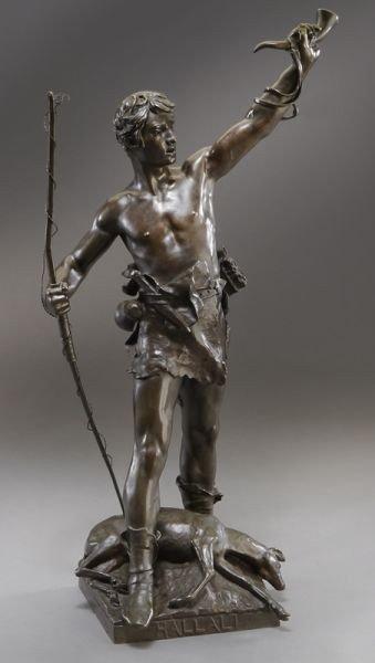 "53: Eugene Marioton, ""Hallali"" bronze sculpture"