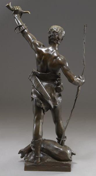 "53: Eugene Marioton, ""Hallali"" bronze sculpture - 3"
