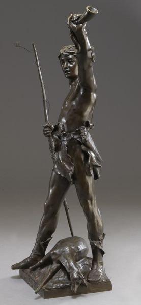 "53: Eugene Marioton, ""Hallali"" bronze sculpture - 4"