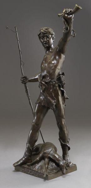 "53: Eugene Marioton, ""Hallali"" bronze sculpture - 5"