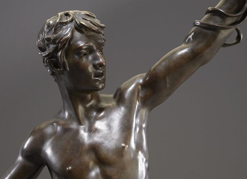 "53: Eugene Marioton, ""Hallali"" bronze sculpture - 6"