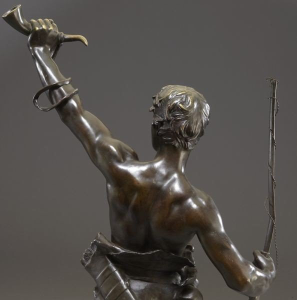 "53: Eugene Marioton, ""Hallali"" bronze sculpture - 9"