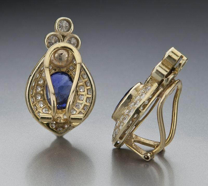 74: Pr. 14K gold, diamond and Ceylon sapphire earrings - 2