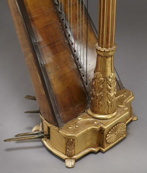105: English parcel-gilt wood harp by Barry of London, - 10