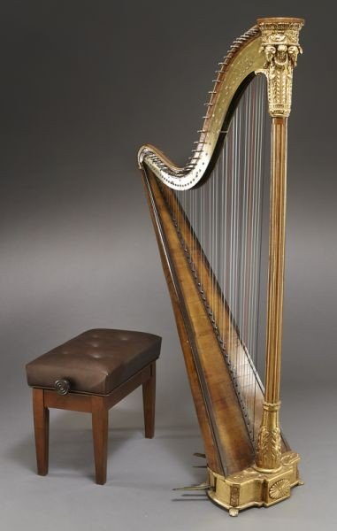 105: English parcel-gilt wood harp by Barry of London,