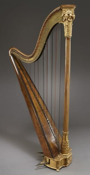 105: English parcel-gilt wood harp by Barry of London, - 2