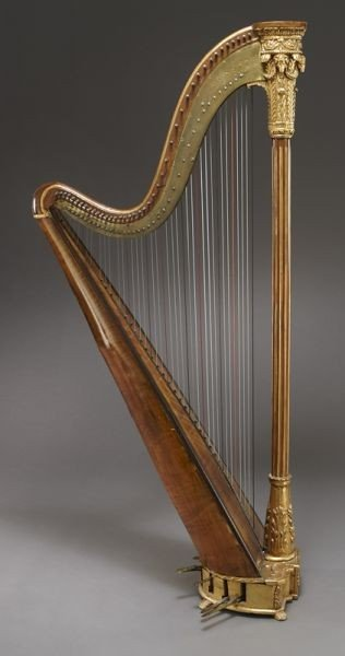 105: English parcel-gilt wood harp by Barry of London, - 3