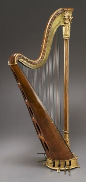 105: English parcel-gilt wood harp by Barry of London, - 4