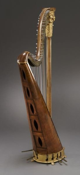 105: English parcel-gilt wood harp by Barry of London, - 5