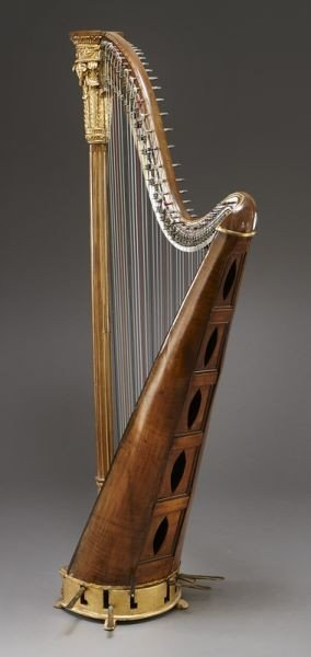 105: English parcel-gilt wood harp by Barry of London, - 6
