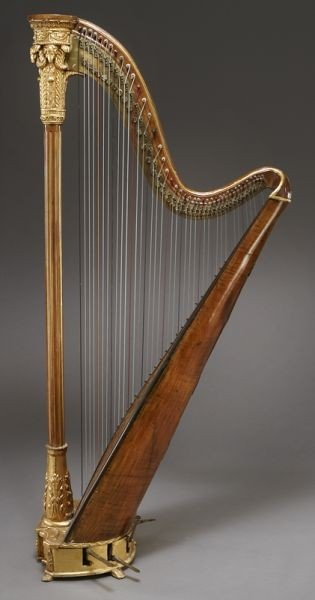 105: English parcel-gilt wood harp by Barry of London, - 7