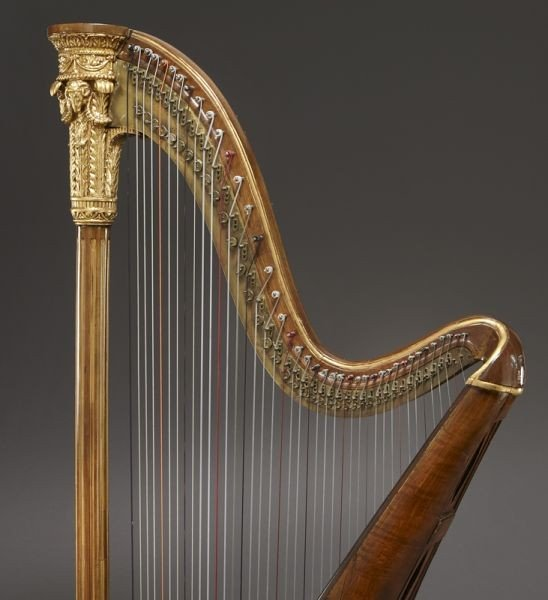 105: English parcel-gilt wood harp by Barry of London, - 8