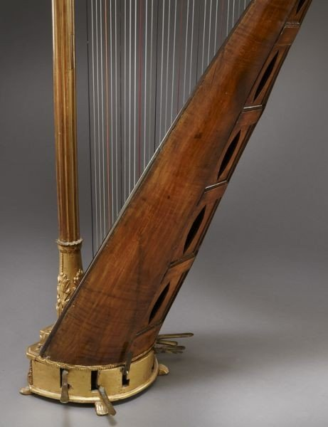 105: English parcel-gilt wood harp by Barry of London, - 9