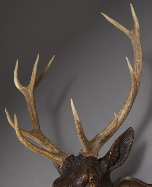 187: Black Forest carved stag's head - 6