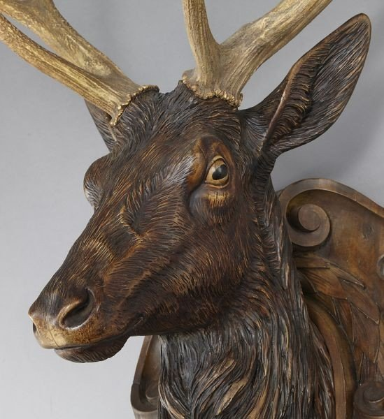 187: Black Forest carved stag's head - 7