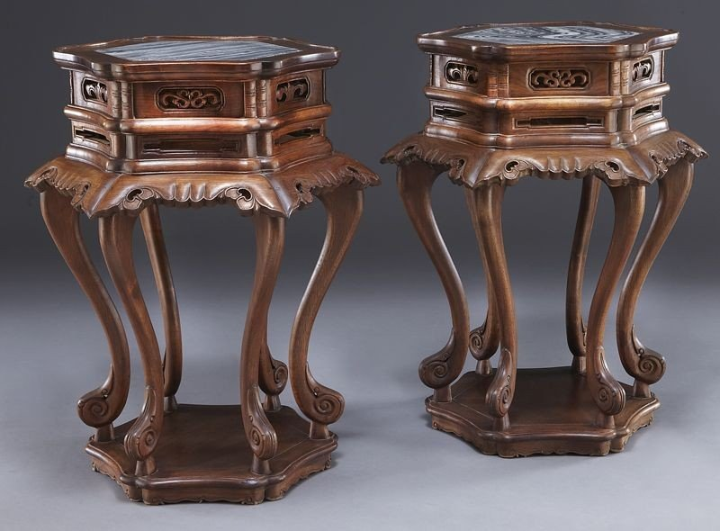 223: Pr. Chinese marble inlaid walnut tables.