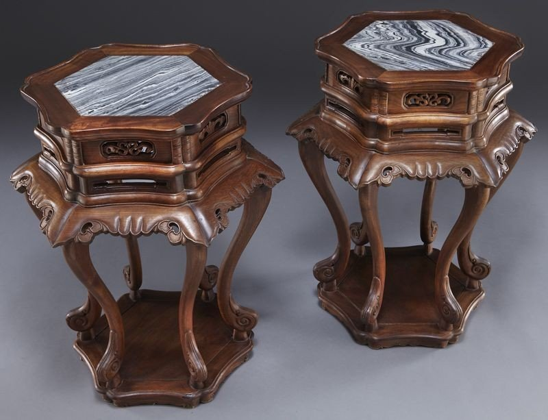 223: Pr. Chinese marble inlaid walnut tables. - 2