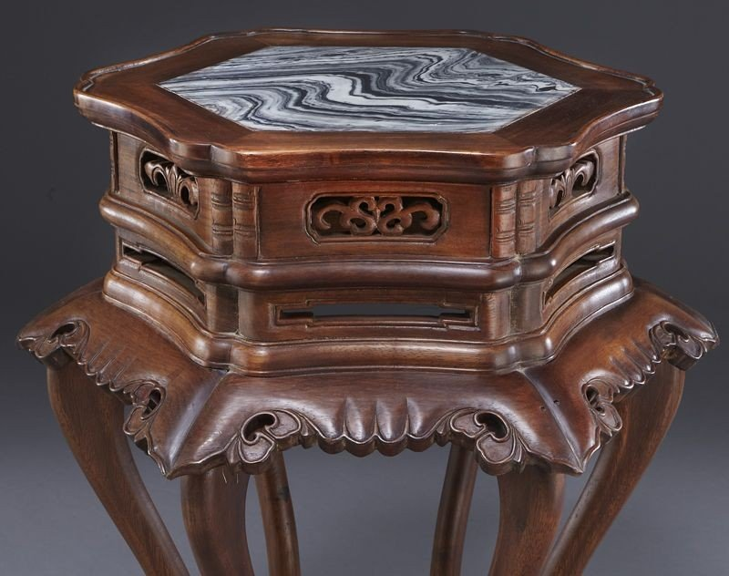 223: Pr. Chinese marble inlaid walnut tables. - 6