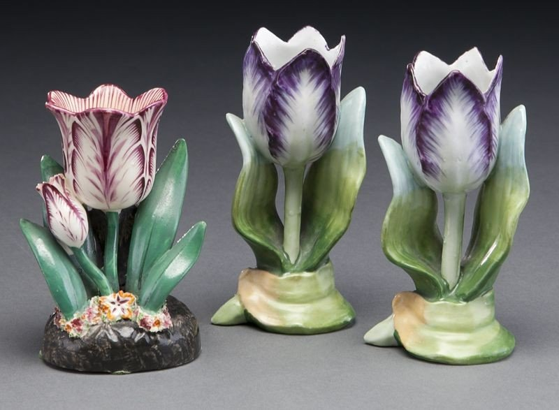 272: (9) English and Continental porcelain tulip vases, - 2