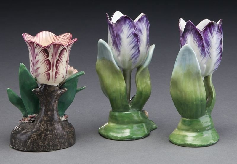 272: (9) English and Continental porcelain tulip vases, - 3