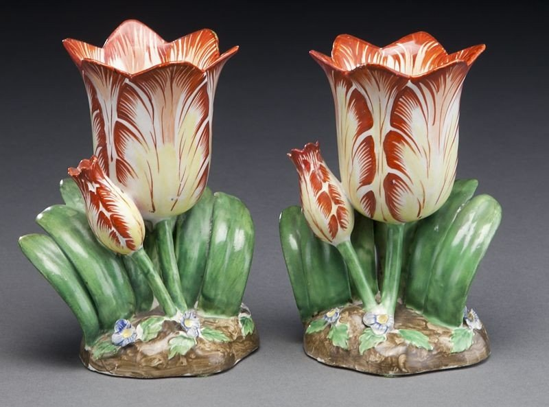 272: (9) English and Continental porcelain tulip vases, - 4