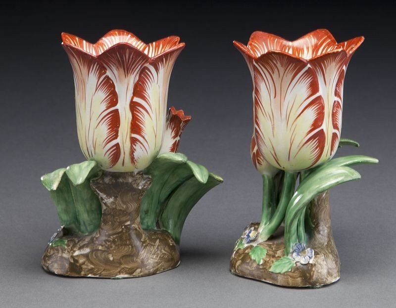 272: (9) English and Continental porcelain tulip vases, - 5