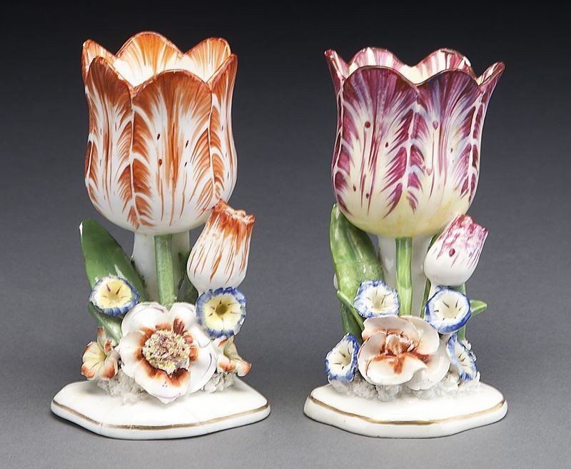 272: (9) English and Continental porcelain tulip vases, - 6