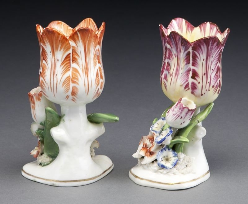 272: (9) English and Continental porcelain tulip vases, - 7
