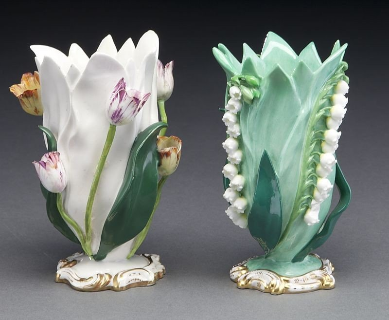 272: (9) English and Continental porcelain tulip vases, - 9