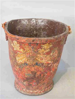 English fire bucket with crest including