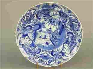 Delft dish with Oriental scene in blue a