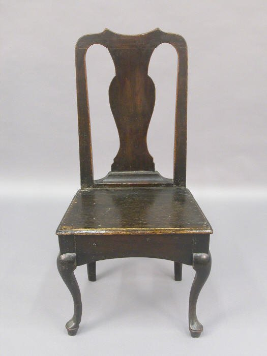509: English oak primitive side chair, Queen
