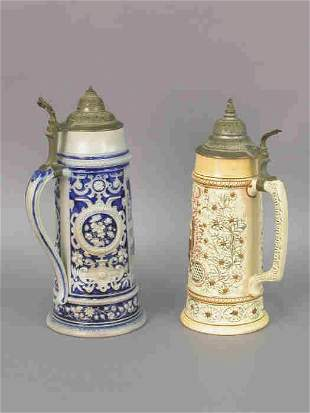 Two Mettlach Steins, No 197 & 1307, both