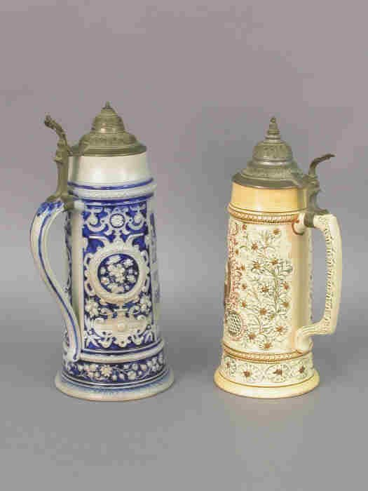 512: Two Mettlach Steins, No 197 & 1307, both