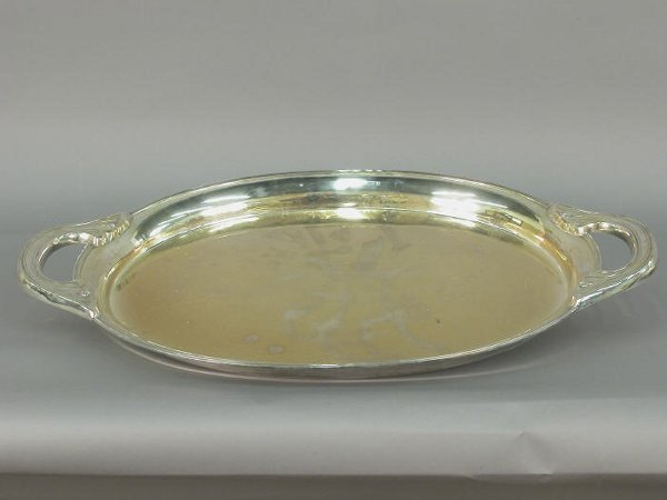515: A Double handled Sterling tray, oval, ma