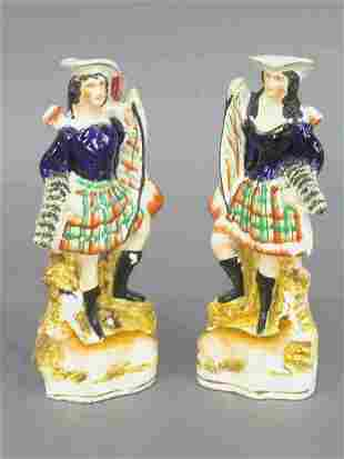 Pair of Staffordshire hunting figures; m