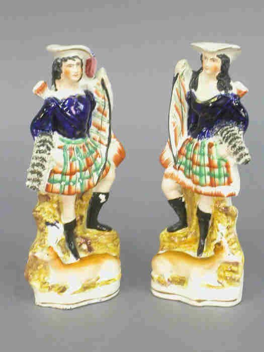 519: Pair of Staffordshire hunting figures; m