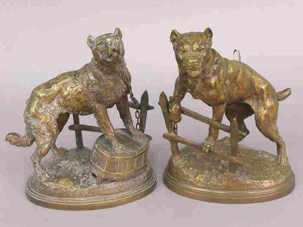 697: Pair of signed C. Valton bronze dog stat