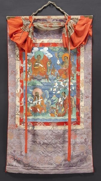 7: Chinese-Tibetan Qing watercolor painted thangka