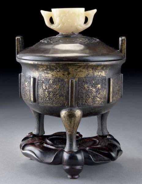 9: Chinese Qing gilt bronze tripod censer